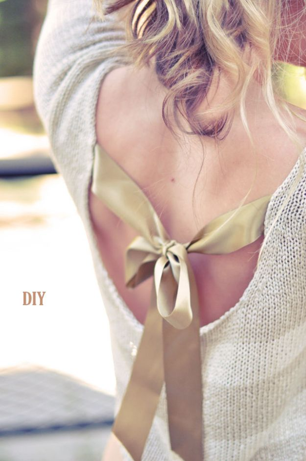 DIY Clothes for Winter - Pretty DIY Bow Sweater With Open Back - Cool Fashion Ideas to Make for Cold Weather - Handmade Scarves, Hats, Coats, Gloves and Mittens, Sweaters and Wraps - Easy Sewing Tutorials and No Sew Items - Creative and Quick Homemade Gifts and Christmas Present Ideas http://diyjoy.com/diy-clothes-winter