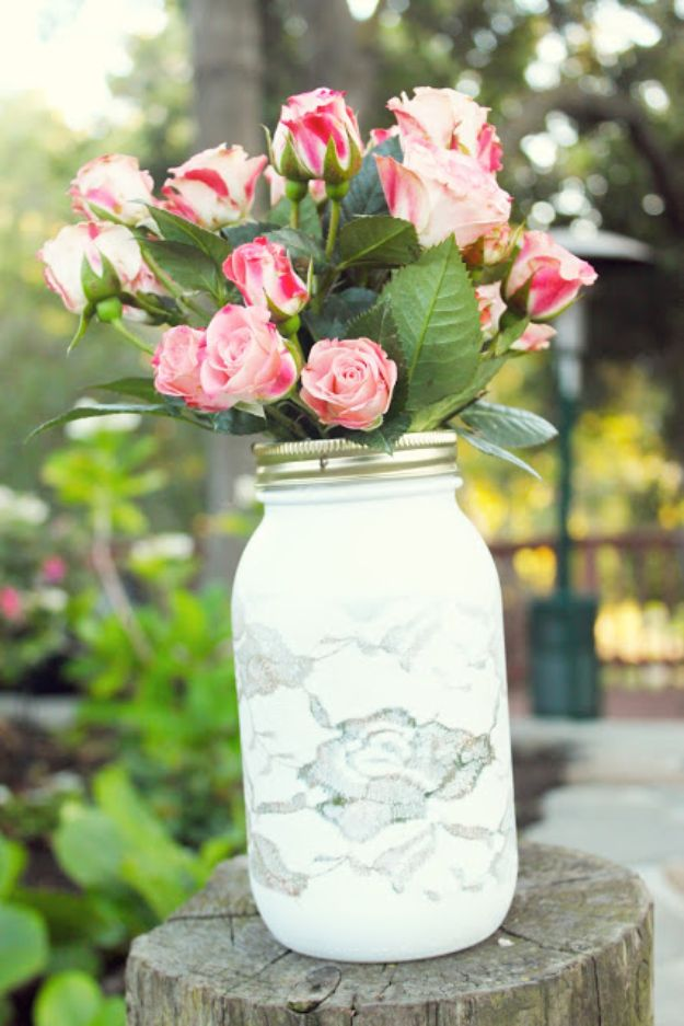 DIY anniversary Gifts - Pretty Lace Vase - Homemade, Handmade Gift Ideas for Wedding Anniversaries - Cool, Easy and inexpensive Gifts To Make for Husband or Wife #anniverary #diy #gifts