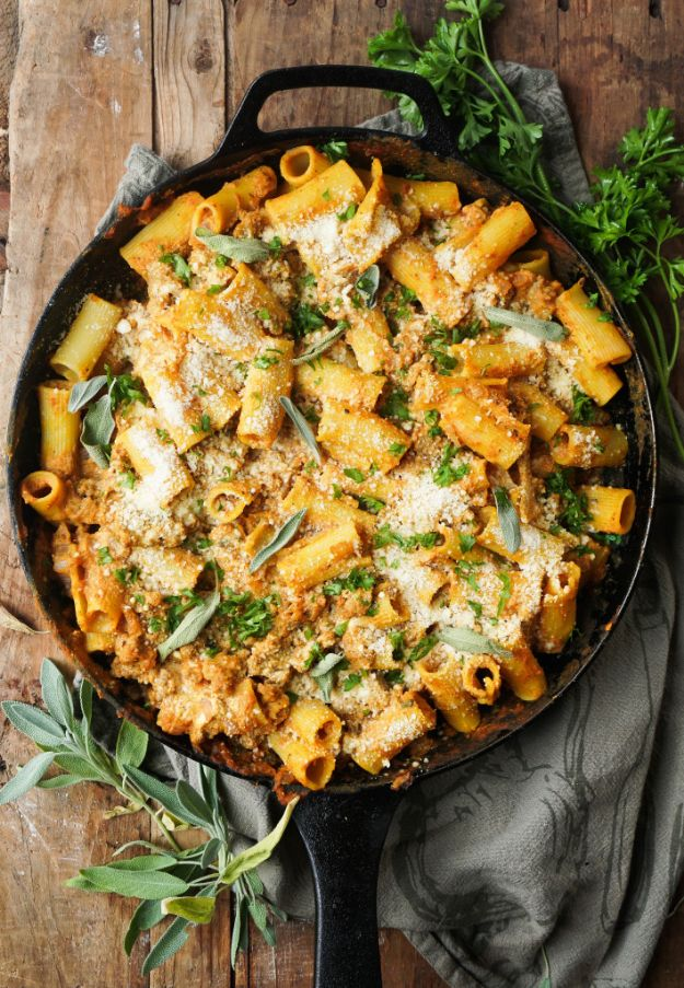 Pumpkin Recipes - Pumpkin Baked Ziti With Sage Sausage - Easy Dessert Ideas, Dinner Meals With Pumpkin- Paleo, Gluten Free, Fresh and Healthy Pumpkin Recipes for Kids - Best Pumpkin Pie for Thanksgiving Desserts Healthy Pumpkin Ideas and Easy Bread, Pie, Dessert and Muffins - Recipe for Pumpkin Spice Apple Dishes, Paleo and Gluten Free Versions of Holiday Favorites - Breakfast, Lunch, Snack, Dinner and Dessert Recipes With Pumpkin Savory and Hearty Fall Meals