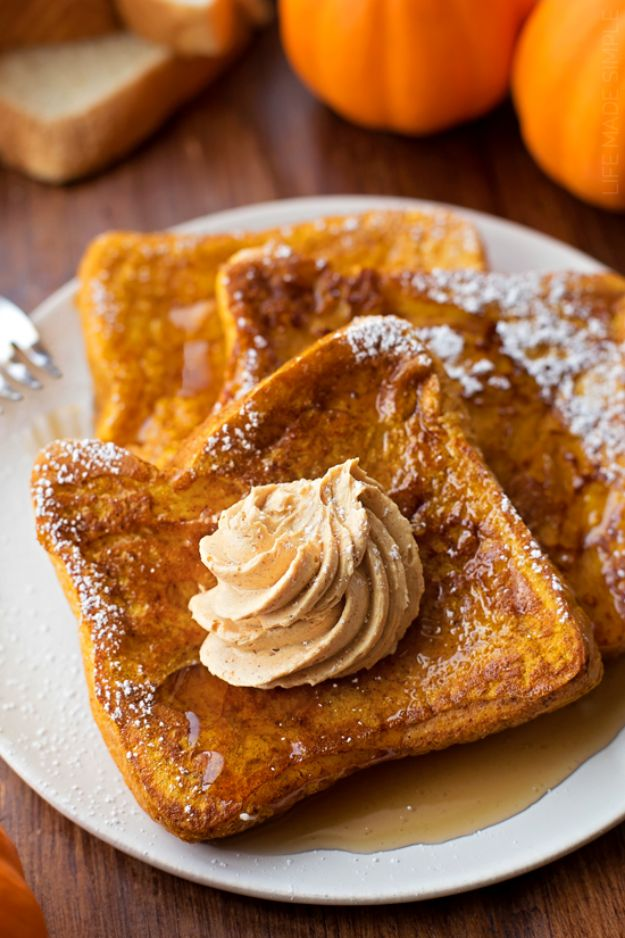 Pumpkin Recipes - Pumpkin French Toast With Whipped Pumpkin Butter - Easy Dessert Ideas, Dinner Meals With Pumpkin- Paleo, Gluten Free, Fresh and Healthy Pumpkin Recipes for Kids - Best Pumpkin Pie for Thanksgiving Desserts Healthy Pumpkin Ideas and Easy Bread, Pie, Dessert and Muffins - Recipe for Pumpkin Spice Apple Dishes, Paleo and Gluten Free Versions of Holiday Favorites - Breakfast, Lunch, Snack, Dinner and Dessert Recipes With Pumpkin Savory and Hearty Fall Meals - http://diyjoy.com/pumpkin-recipes