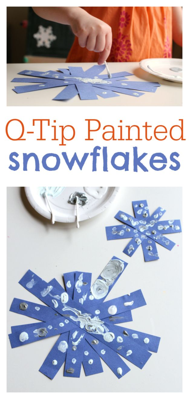 Winter Crafts for Toddlers and Kids - Q-Tip Painted Snowflake - Easy Art Projects and Craft Ideas for 2 Year Olds, Preschool Age Children - Simple Indoor Activities, Things To Make At Home in Wintertime - Snow, Snowflake and Icicle, Snowmen - Classroom Art Projects #kidscrafts #craftsforkids #winters