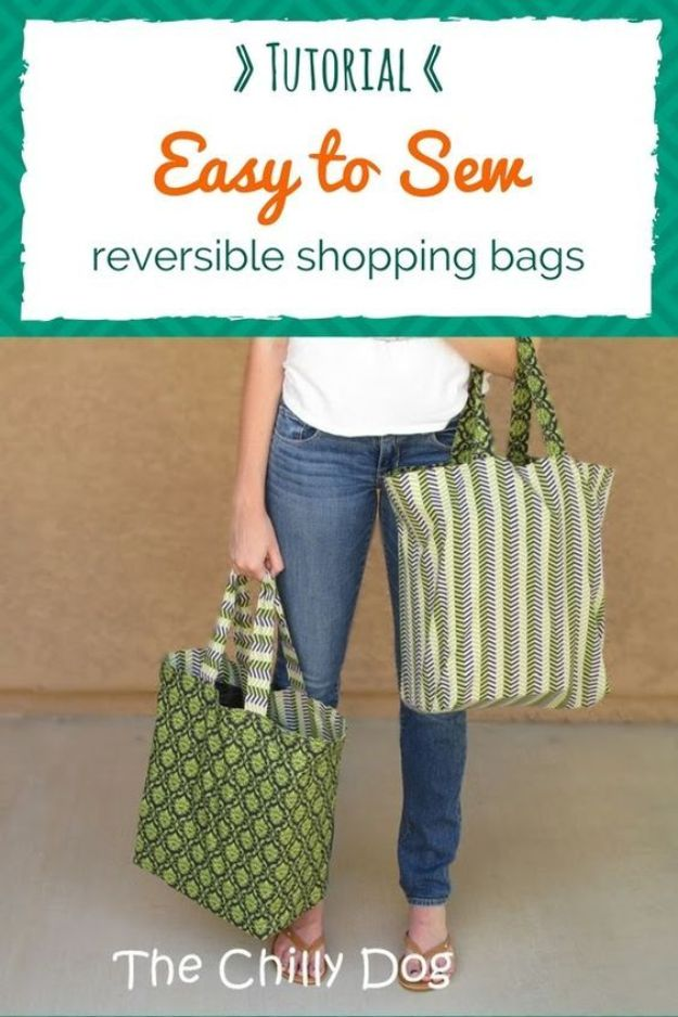 DIY Shopping Bags - Reversible Shopping Bags - Easy Drawstring Bag Tutorials - How To Make A Shopping Bag - Use Fabric Scraps, Old Denim Jeans, Upcycled Items - Cute Monogrammed Ideas, Painted Bags and Sewing Tutorials for Beginners s
