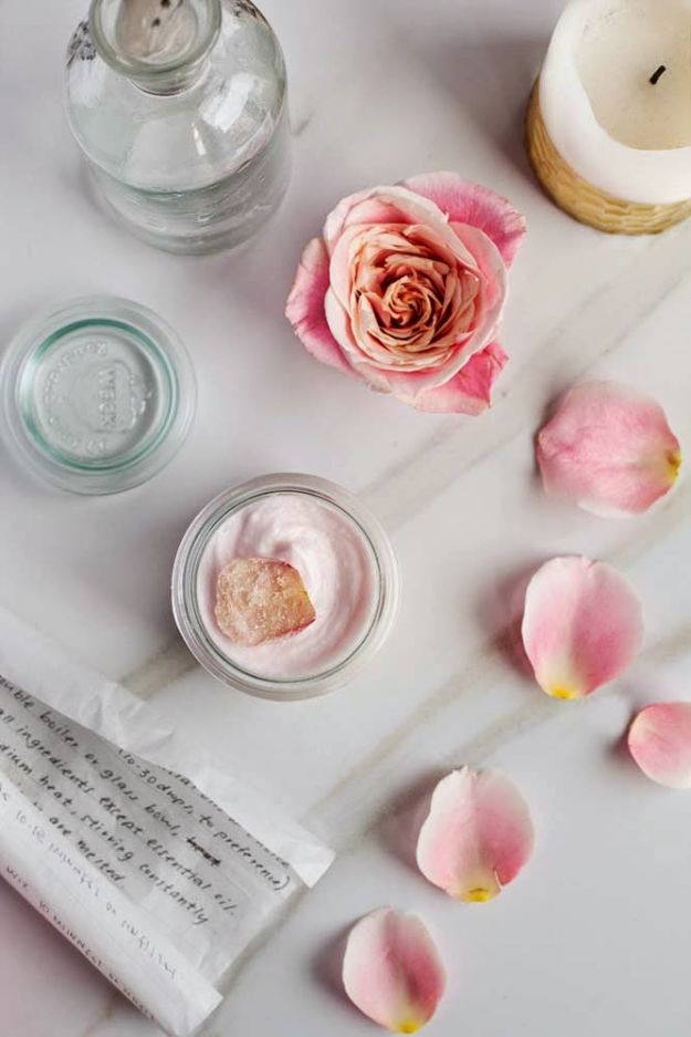 DIY Lotion Recipes - Rose Hibiscus Whipped Body Butter - How To Make Homemade Lotion - Natural Body and Skincare Recipe Ideas - Use Essential Oils, Coconut and Avocado and Shea Butter, Goats Milk, Lavender, Peppermint - Non Greasy and Whipped Versions for Dry Skin, Face and Body http://diyjoy.com/diy-lotions