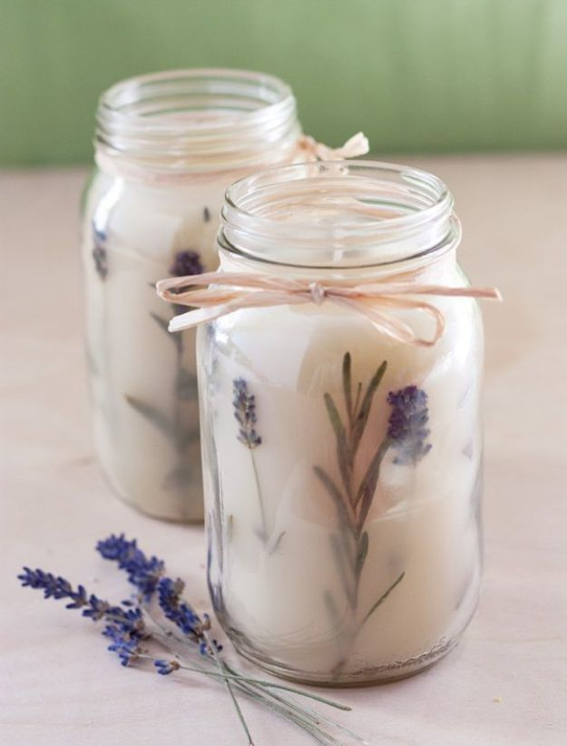Cheap DIY Living Room Decor Ideas - Rosemary Pressed Herb Candles - Cool Modern, Rustic Creative Farmhouse Home Decor On A Budget - Do It Yourself Coffee Tables, Wall Art, Rugs, Pillows and Chairs. Step by Step Tutorials and Instructions http://diyjoy.com/cheap-diy-living-room-decor