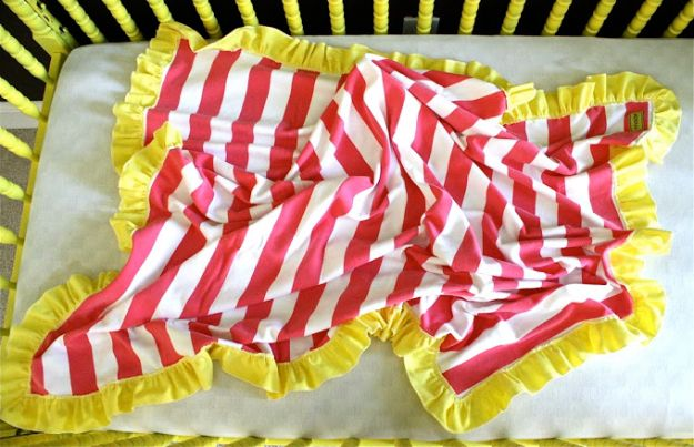 DIY Baby Blankets - Ruffle Edge Baby Blanket - Easy No Sew Ideas for Minky Blankets, Quilt Tutorials, Crochet Projects, Blanket Projects for Boy and Girl - How To Make a Blanket By Hand With Fleece, Flannel, Knit and Fabric Scraps - Personalized and Monogrammed Ideas - Cute Cheap Gifts for Babies  #babygifts