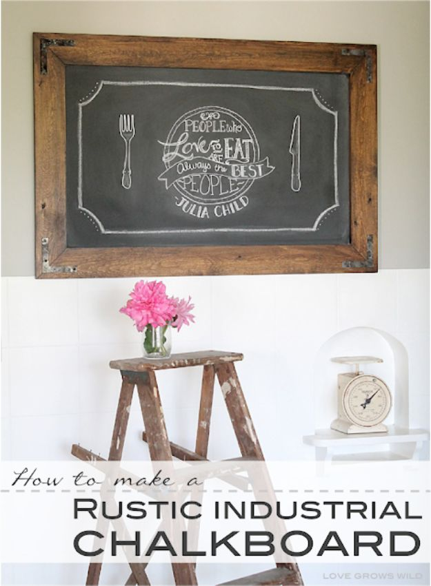 Cheap Last Minute Gifts DIY - Rustic Industrial Chalkboard - Inexpensive DIY Gift Ideas To Make On A Budget - Homemade Christmas and Birthday Presents to Make For Mom, Dad, Daughter & Son, Kids, Friends and Family - Cool and Creative Crafts, Home Decor and Accessories, Fun Gadgets and Phone Stuff - Quick Gifts From Dollar Tree Items #diygifts #cheapgifts #christmasgifts