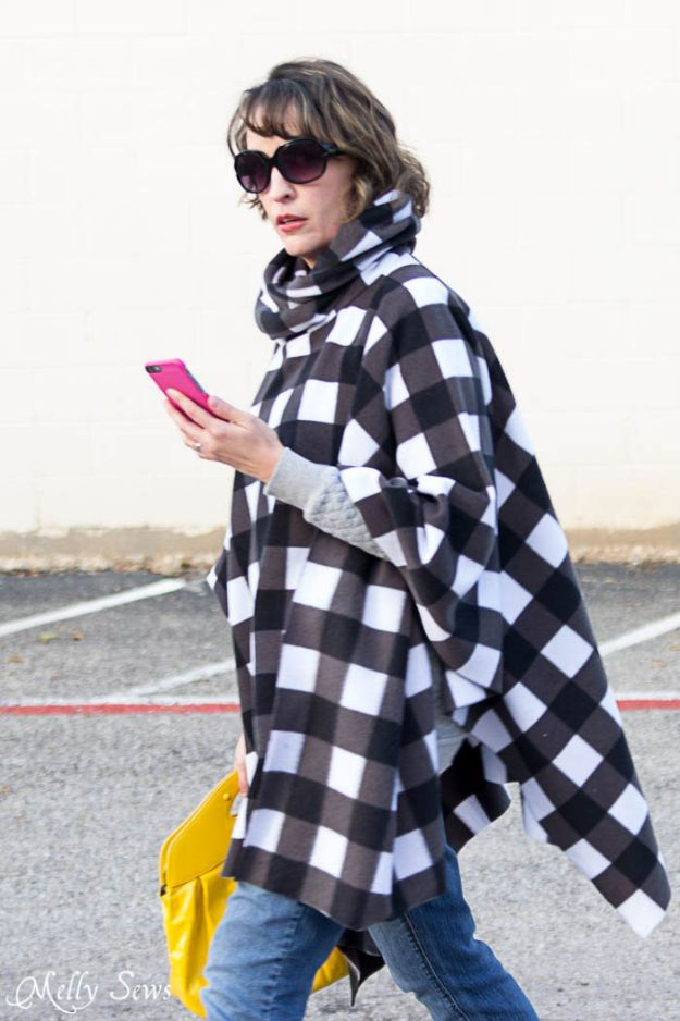 DIY Clothes for Winter - Sew A Fleece Poncho - Cool Fashion Ideas to Make for Cold Weather - Handmade Scarves, Hats, Coats, Gloves and Mittens, Sweaters and Wraps - Easy Sewing Tutorials and No Sew Items - Creative and Quick Homemade Gifts and Christmas Present Ideas http://diyjoy.com/diy-clothes-winter