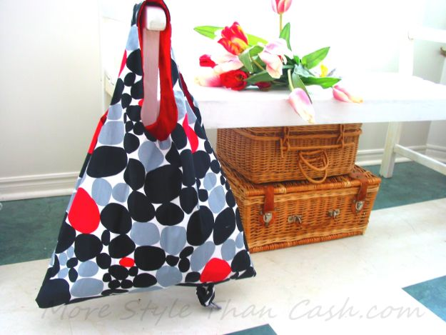 DIY Shopping Bags - Sew a Fold Up Shopping Bag - Easy Drawstring Bag Tutorials - How To Make A Shopping Bag - Use Fabric Scraps, Old Denim Jeans, Upcycled Items - Cute Monogrammed Ideas, Painted Bags and Sewing Tutorials for Beginners http://diyjoy.com/diy-drawstring-bags