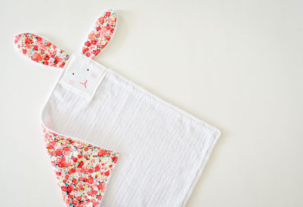 DIY Baby Blankets - Sew a Sweet Bunny Lovey - Easy No Sew Ideas for Minky Blankets, Quilt Tutorials, Crochet Projects, Blanket Projects for Boy and Girl - How To Make a Blanket By Hand With Fleece, Flannel, Knit and Fabric Scraps - Personalized and Monogrammed Ideas - Cute Cheap Gifts for Babies  #babygifts