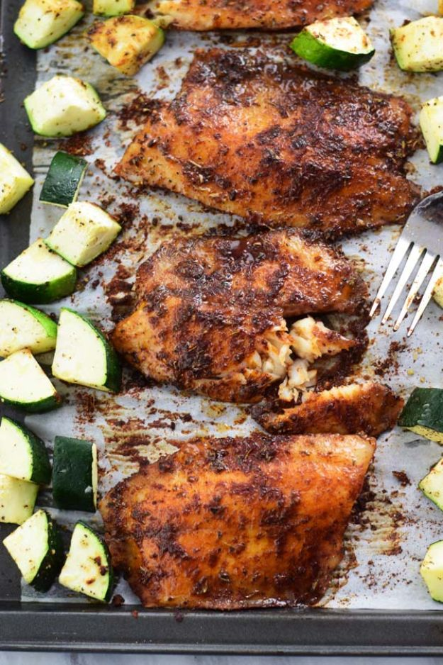 Tilapia Recipes - Sheet Pan Baked Blackened Tilapia With Zucchini - Best Recipe Ideas for Tilapia Fish - Dinner, Lunch, Snacks and Appetizers - Healthy Foods, Gluten Free Low Carb and Keto Friendly Dishes - Salads, Pastas and Easy Weeknight Dinners, Lunches for Work - Broiled, Grilled, Lemon Baked, Fried and Quick Ways to Make Tilapia #fish #healthy #recipes