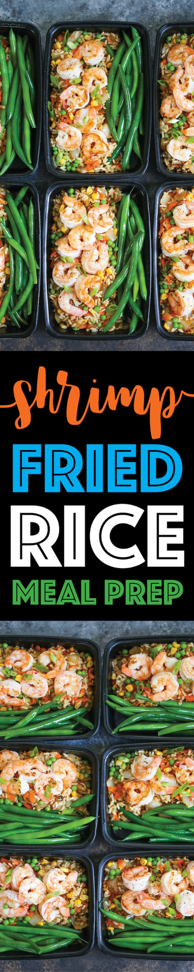 Meal Prep Ideas - Shrimp Fried Rice Meal Prep - Recipes and Planning Tips for Making a Week of Meals - Easy, Healthy Recipe Ideas to Make Ahead - Weeknight Dinners Lunches  #mealprep #dinnerideas