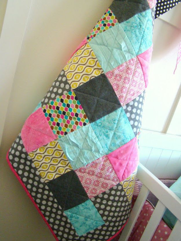 DIY Baby Blankets - Simple Baby Quilt - Easy No Sew Ideas for Minky Blankets, Quilt Tutorials, Crochet Projects, Blanket Projects for Boy and Girl - How To Make a Blanket By Hand With Fleece, Flannel, Knit and Fabric Scraps - Personalized and Monogrammed Ideas - Cute Cheap Gifts for Babies  #babygifts