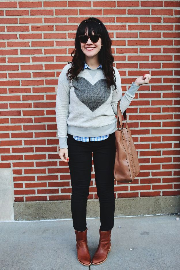 DIY Clothes for Winter - Simple Heart Sweater - Cool Fashion Ideas to Make for Cold Weather - Handmade Scarves, Hats, Coats, Gloves and Mittens, Sweaters and Wraps - Easy Sewing Tutorials and No Sew Items - Creative and Quick Homemade Gifts and Christmas Present Ideas http://diyjoy.com/diy-clothes-winter