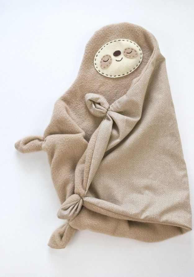DIY Baby Blankets - Sleepy Sloth Snuggler - Easy No Sew Ideas for Minky Blankets, Quilt Tutorials, Crochet Projects, Blanket Projects for Boy and Girl - How To Make a Blanket By Hand With Fleece, Flannel, Knit and Fabric Scraps - Personalized and Monogrammed Ideas - Cute Cheap Gifts for Babies http://diyjoy.com/diy-baby-blankets