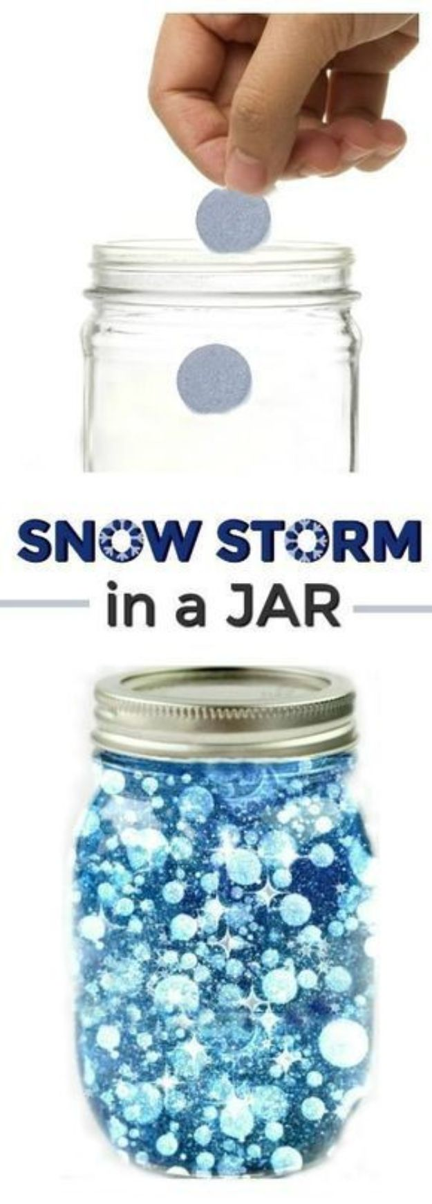 Winter Crafts for Toddlers and Kids - Snow Storm In A Jar - Easy Art Projects and Craft Ideas for 2 Year Olds, Preschool Age Children - Simple Indoor Activities, Things To Make At Home in Wintertime - Snow, Snowflake and Icicle, Snowmen - Classroom Art Projects #kidscrafts #craftsforkids #winters