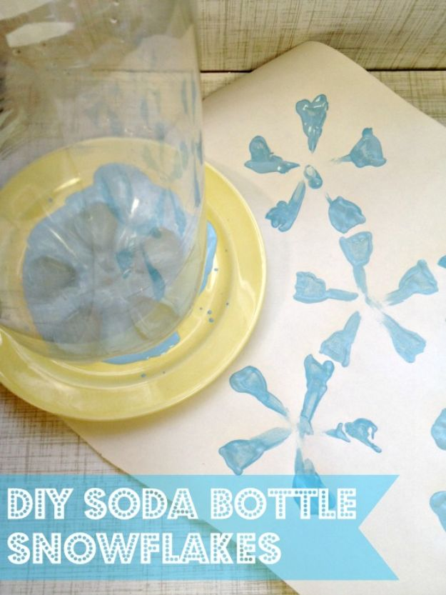 Winter Crafts for Toddlers and Kids - Soda Bottle Snowflake Stamp Craft - Easy Art Projects and Craft Ideas for 2 Year Olds, Preschool Age Children - Simple Indoor Activities, Things To Make At Home in Wintertime - Snow, Snowflake and Icicle, Snowmen - Classroom Art Projects - Busy Bags and Quick and Easy Gifts - Cheap Kid Crafts From The Dollar Store and Dollar Tree http://diyjoy.com/winter-crafts-for-kids