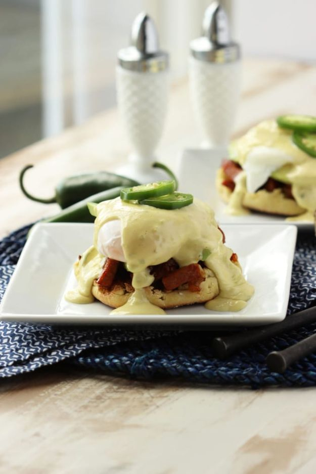 Eggs Benedict Recipes - Southwestern Eggs Benedict with Jalapeño Hollandaise - Best Benedicts and Recipe Ideas for Breakfast, Brunch and Lunch - Easy and Quick Eggs Benedict, Classic, Salmon, Vegetarian and Healthy Variations - How to Make Hollandaise Sauce - Pioneer Woman Favorites - Eggs Benedict Casserole for A Crowd http://diyjoy.com/eggs-benedict-recipes