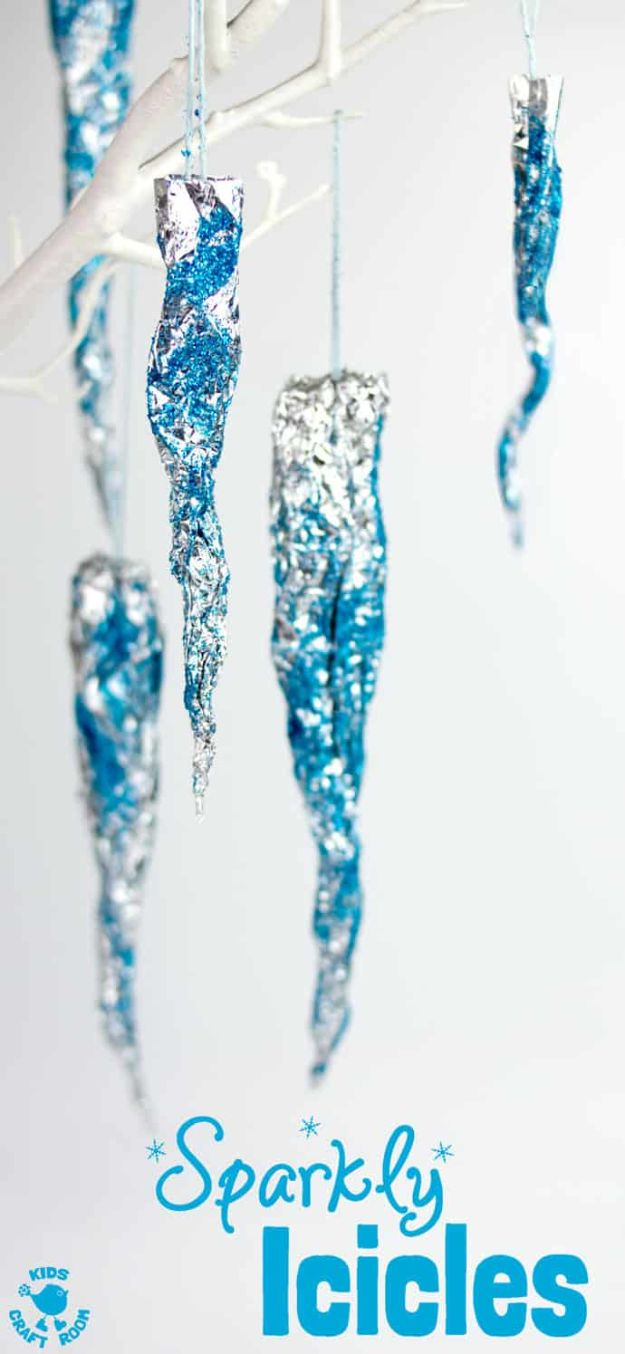 Inexpensive Pinterest Winter Crafts for Kids - Easy Craft Ideas for Children to Make At Home | Quick Sparkly Icicles Project