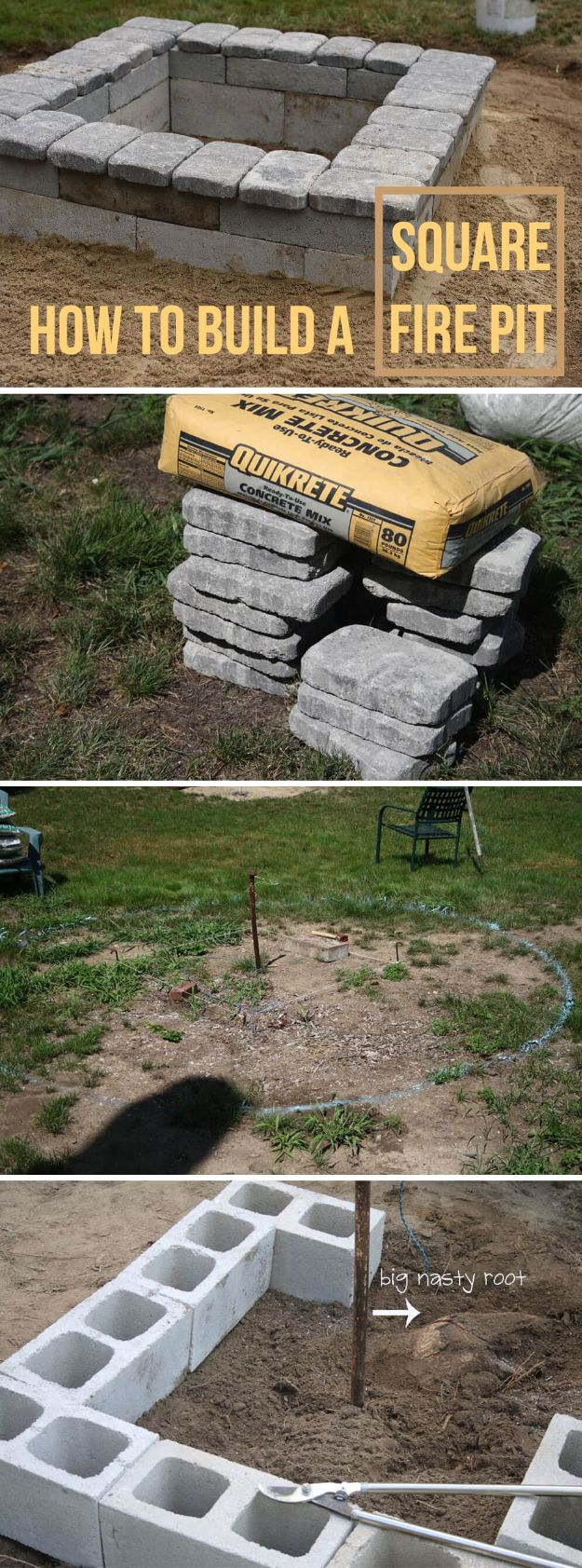 DIY Firepits - Square Concrete and Stone Firepit - Step by Step Tutorial for Raised Firepit , In Ground, Portable, Brick, Stone, Metal and Cinder Block Outdoor Fireplace #outdoors #diy