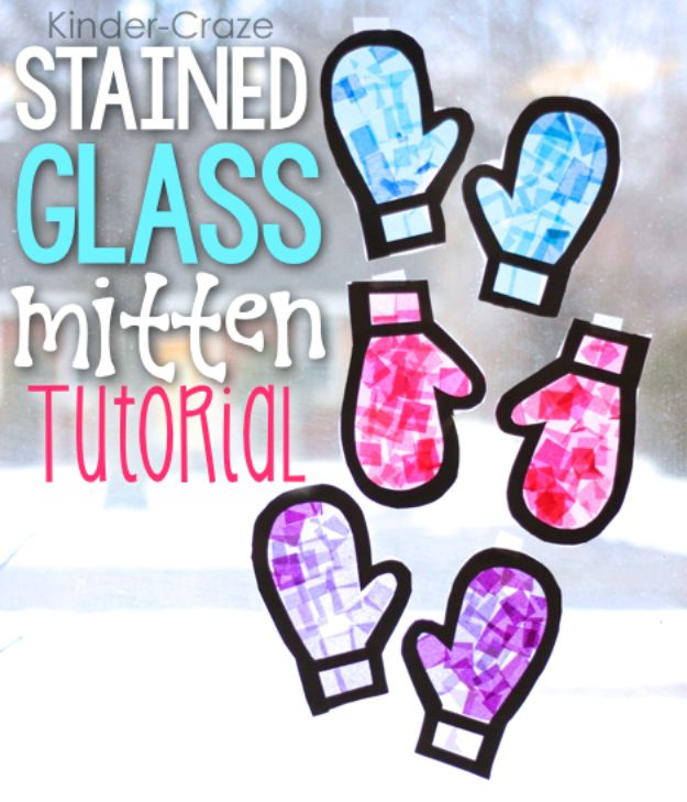 Winter Crafts for Kids \ Easy Craft Ideas for Children to Make At Home | Stained Glass Mitten