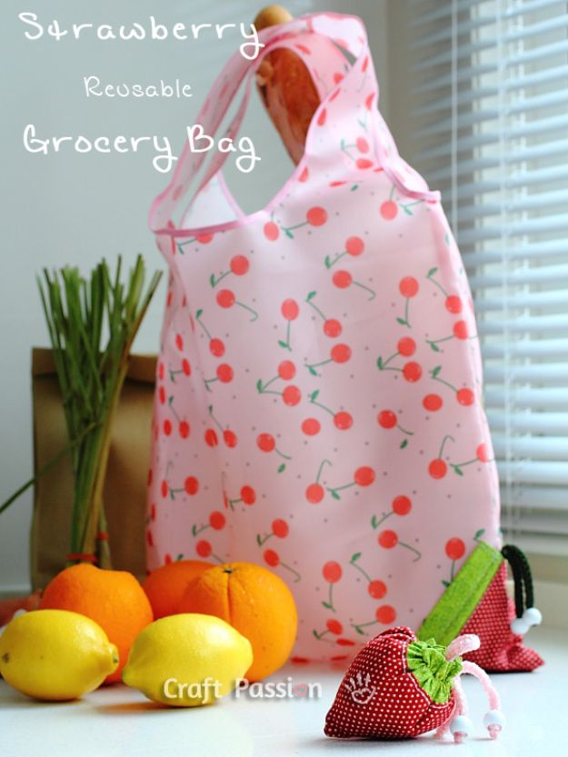 DIY Shopping Bags - Strawberry Reusable Grocery Bag - Easy Drawstring Bag Tutorials - How To Make A Shopping Bag - Use Fabric Scraps, Old Denim Jeans, Upcycled Items - Cute Monogrammed Ideas, Painted Bags and Sewing Tutorials for Beginners http://diyjoy.com/diy-drawstring-bags