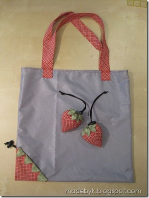 DIY Shopping Bags - Strawberry Reusable Shopping Bags - Easy Drawstring Bag Tutorials - How To Make A Shopping Bag - Use Fabric Scraps, Old Denim Jeans, Upcycled Items - Cute Monogrammed Ideas, Painted Bags and Sewing Tutorials for Beginners http://diyjoy.com/diy-drawstring-bags