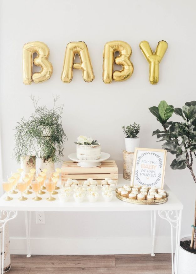 DIY Baby Shower Decorations - Stylish Gold & Birch baby Shower - Cute and Easy Ways to Decorate for A Baby Shower Ideas in Pink and Blue for Boys and Girls- Games and Party Decor - Banners, Cake, Invitations and Favors http://diyjoy.com/diy-baby-shower-decorations