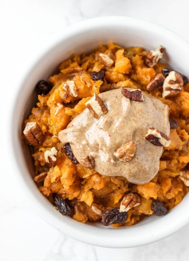 Sweet Potato Recipes - Sweet Potato Breakfast Bowl - Easy Recipe Ideas for Sweet Potatoes in the Crockpot, Casserole Dishes, Baked, Mashed, Candied and Roastedd - Healthy Versions of Sweet Potatoes for Thanksgiving - Dinner, Lunch and Side Dishes #recipes