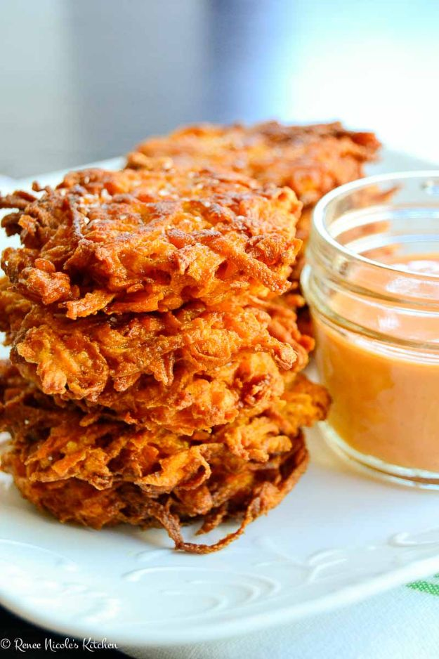 Sweet Potato Recipes - Sweet Potato Fritters With Sweet & Spicy Sauce - Easy Recipe Ideas for Sweet Potatoes in the Crockpot, Casserole Dishes, Baked, Mashed, Candied and Roastedd - Healthy Versions of Sweet Potatoes for Thanksgiving - Dinner, Lunch and Side Dishes http://diyjoy.com/sweet-potato-recipes