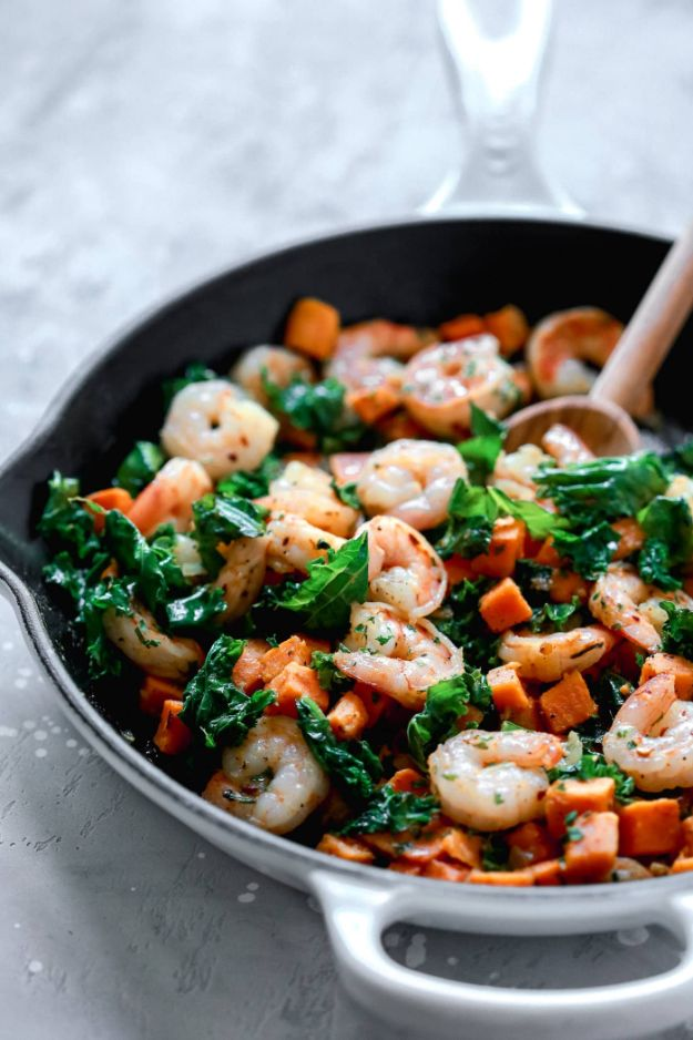 Sweet Potato Recipes - Sweet Potato, Kale and Shrimp Skillet - Easy Recipe Ideas for Sweet Potatoes in the Crockpot, Casserole Dishes, Baked, Mashed, Candied and Roastedd - Healthy Versions of Sweet Potatoes for Thanksgiving - Dinner, Lunch and Side Dishes #recipes