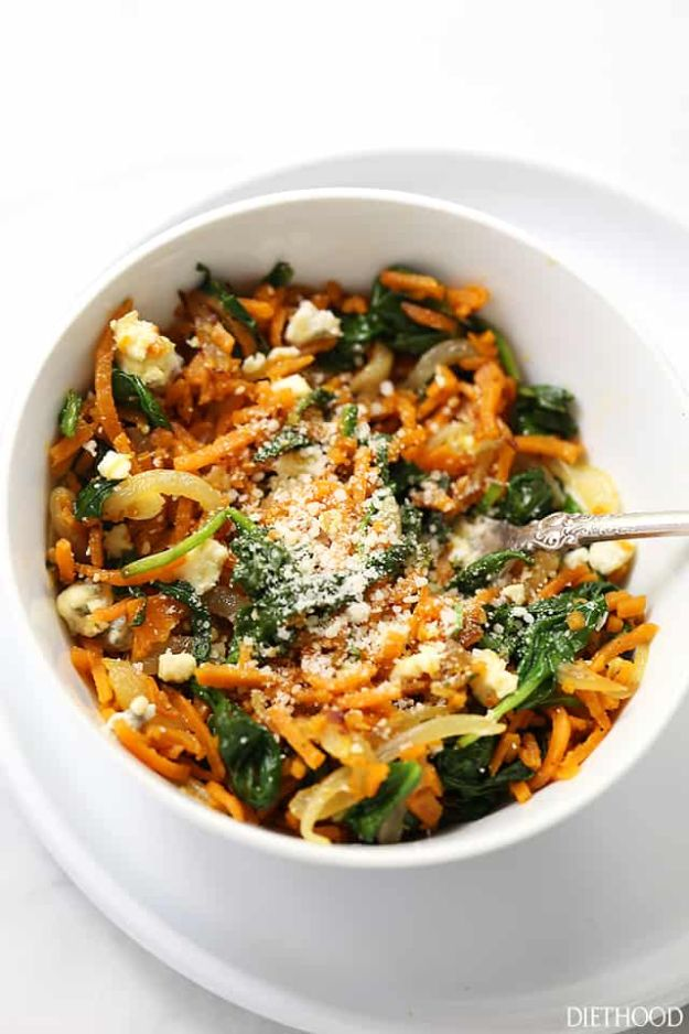 Sweet Potato Recipes - Sweet Potato Noodles with Spinach - Easy Recipe Ideas for Sweet Potatoes in the Crockpot, Casserole Dishes, Baked, Mashed, Candied and Roastedd - Healthy Versions of Sweet Potatoes for Thanksgiving - Dinner, Lunch and Side Dishes http://diyjoy.com/sweet-potato-recipes