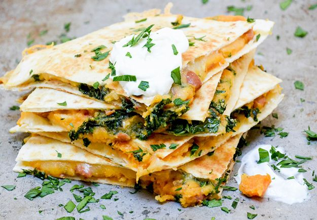 Sweet Potato Recipes - Sweet Potato, Pinto Bean and Kale Quesadillas - Easy Recipe Ideas for Sweet Potatoes in the Crockpot, Casserole Dishes, Baked, Mashed, Candied and Roastedd - Healthy Versions of Sweet Potatoes for Thanksgiving - Dinner, Lunch and Side Dishes #recipes