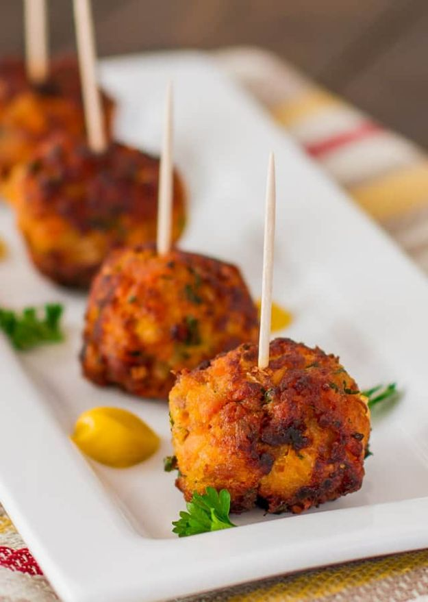 Sweet Potato Recipes - Sweet Potato Turkey Meatballs - Easy Recipe Ideas for Sweet Potatoes in the Crockpot, Casserole Dishes, Baked, Mashed, Candied and Roastedd - Healthy Versions of Sweet Potatoes for Thanksgiving - Dinner, Lunch and Side Dishes http://diyjoy.com/sweet-potato-recipes