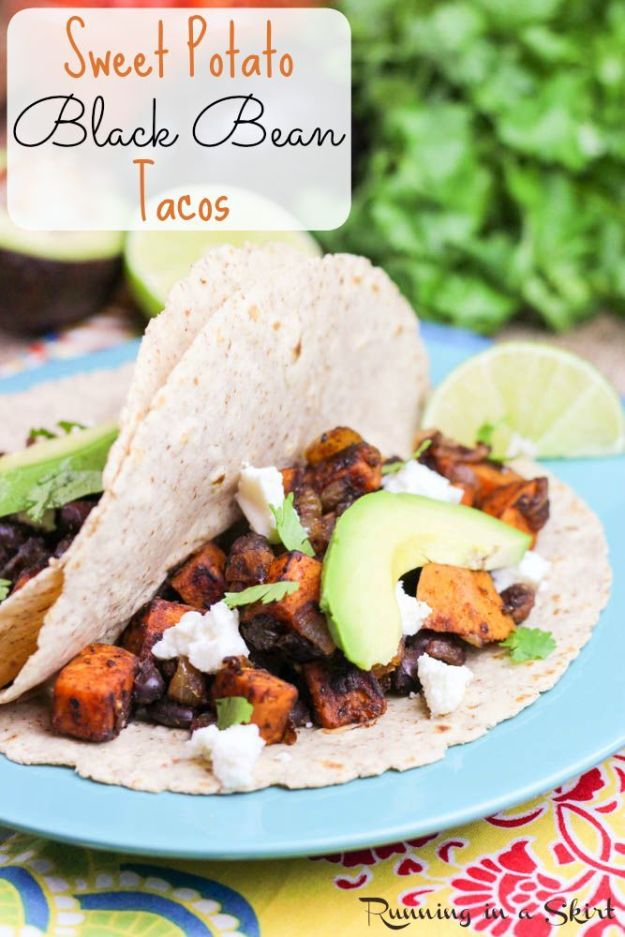 Sweet Potato Recipes - Sweet Potato and Black Bean Tacos - Easy Recipe Ideas for Sweet Potatoes in the Crockpot, Casserole Dishes, Baked, Mashed, Candied and Roastedd - Healthy Versions of Sweet Potatoes for Thanksgiving - Dinner, Lunch and Side Dishes http://diyjoy.com/sweet-potato-recipes