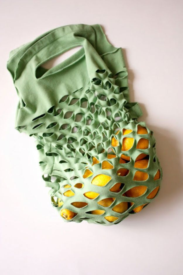 DIY Shopping Bags - T-Shirt Bag - Easy Drawstring Bag Tutorials - How To Make A Shopping Bag - Use Fabric Scraps, Old Denim Jeans, Upcycled Items - Cute Monogrammed Ideas, Painted Bags and Sewing Tutorials for Beginners http://diyjoy.com/diy-drawstring-bags