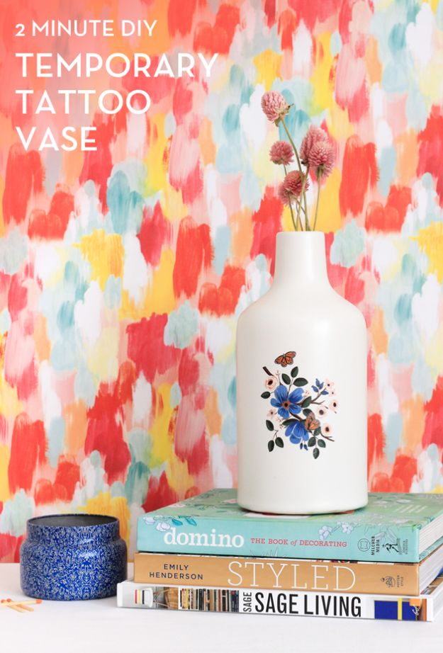 Cheap DIY Living Room Decor Ideas - Temporary Tattoo Vase - Cool Modern, Rustic Creative Farmhouse Home Decor On A Budget - Do It Yourself Coffee Tables, Wall Art, Rugs, Pillows and Chairs. Step by Step Tutorials and Instructions #diydecor #livingroom #decorideas