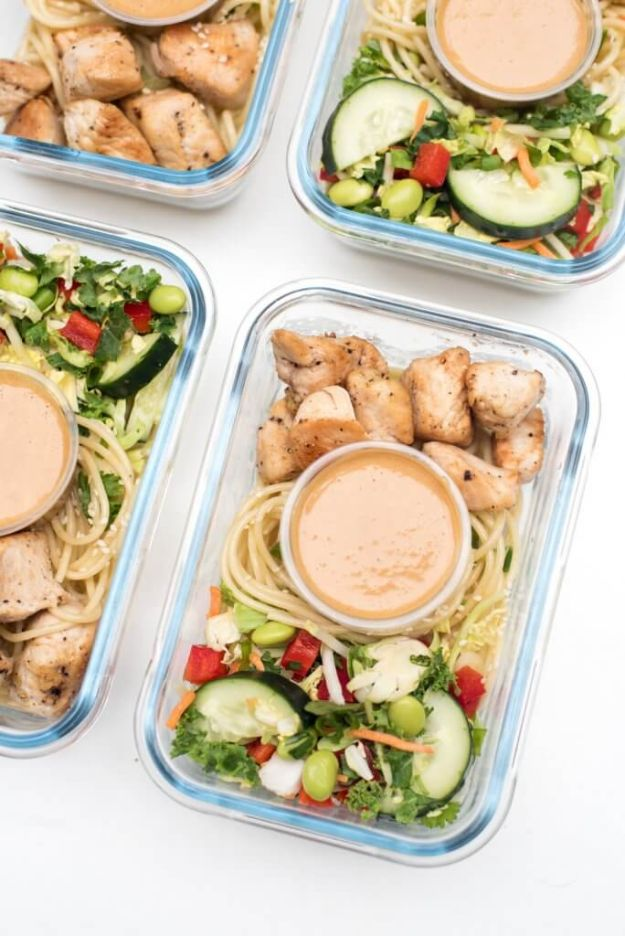 Meal Prep Ideas - Thai Peanut Chicken Meal Prep Bowls - Recipes and Planning Tips for Making a Week of Meals - Easy, Healthy Recipe Ideas to Make Ahead - Weeknight Dinners Lunches - Crockpot Lunches, Slow Cooker Meals, Freeze Ahead http://diyjoy.com/meal-prep-ideas