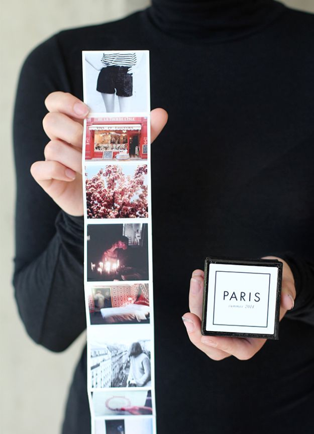 DIY Anniversary Gifts - Tiny Travel Album In A Box - Homemade, Handmade Gift Ideas for Wedding Anniversaries - Cool, Easy and inexpensive Gifts To Make for Husband or Wife #anniverary #diy #gifts