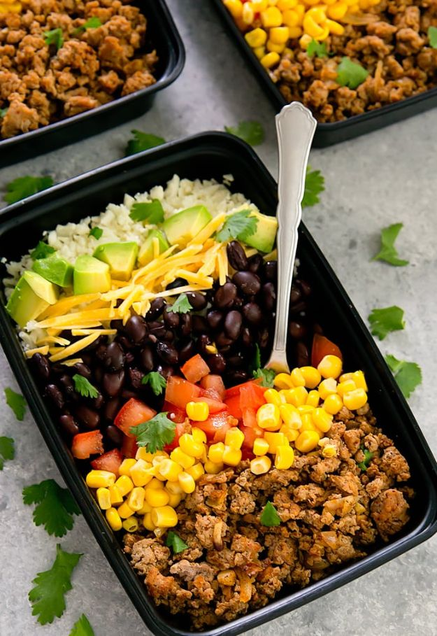 Meal Prep Ideas - Turkey Taco Bowls With Cauliflower Rice Meal Prep - Recipes and Planning Tips for Making a Week of Meals - Easy, Healthy Recipe Ideas to Make Ahead - Weeknight Dinners Lunches  #mealprep #dinnerideas