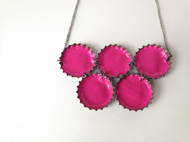 DIY Bottle Cap Crafts - Upcycled Neon Necklace - Make Jewelry Projects, Creative Craft Ideas, Gift Ideas for Men, Women and Kids, KeyChains and Christmas Ornaments, Presents