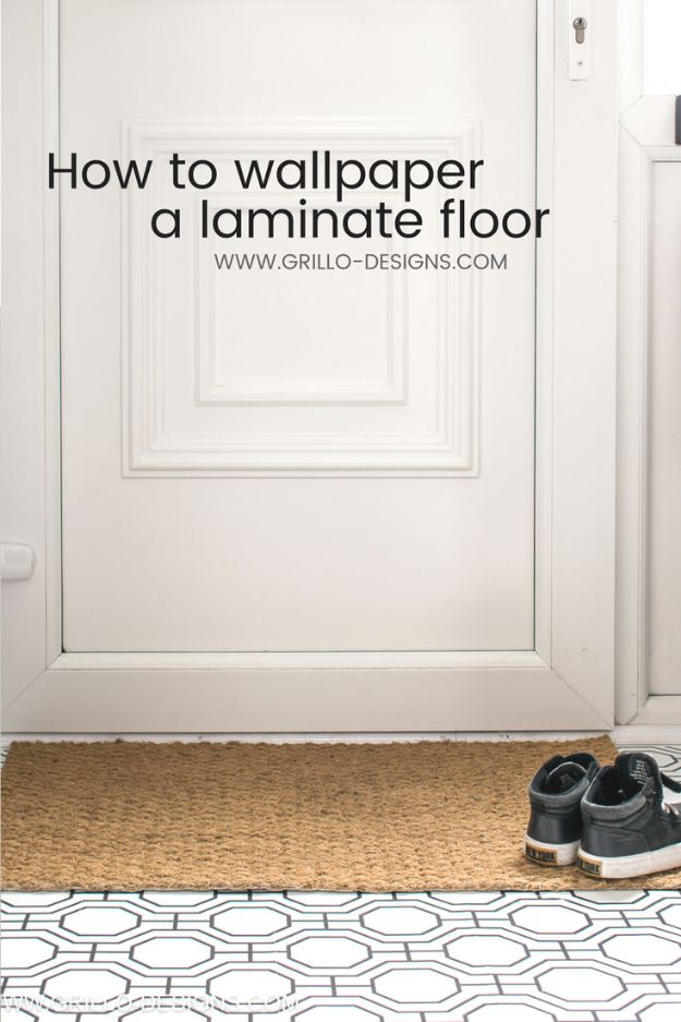 Wallpaper Tips and Tricks - Wallpaper A Laminate Floor - Easy DIY Wallpapering Tutorials - How to Hang Wall Paper for Beginners - Step by Step Instructions and Cool Hacks for Hanging Wall Papers http://diyjoy.com/wallpaper-tips-tricks