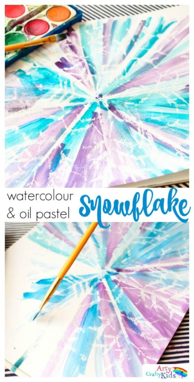 Winter Crafts for Toddlers and Kids - Watercolour and Oil Pastel Resist Snowflake - Easy Art Projects and Craft Ideas for 2 Year Olds, Preschool Age Children - Simple Indoor Activities, Things To Make At Home in Wintertime - Snow, Snowflake and Icicle, Snowmen - Classroom Art Projects #kidscrafts #craftsforkids #winters
