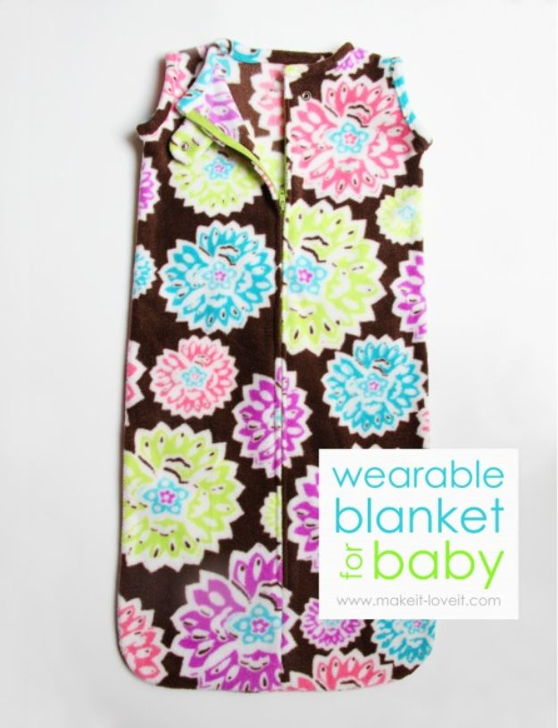 DIY Baby Blankets - Wearable Blanket For Baby - Easy No Sew Ideas for Minky Blankets, Quilt Tutorials, Crochet Projects, Blanket Projects for Boy and Girl - How To Make a Blanket By Hand With Fleece, Flannel, Knit and Fabric Scraps - Personalized and Monogrammed Ideas - Cute Cheap Gifts for Babies  #babygifts