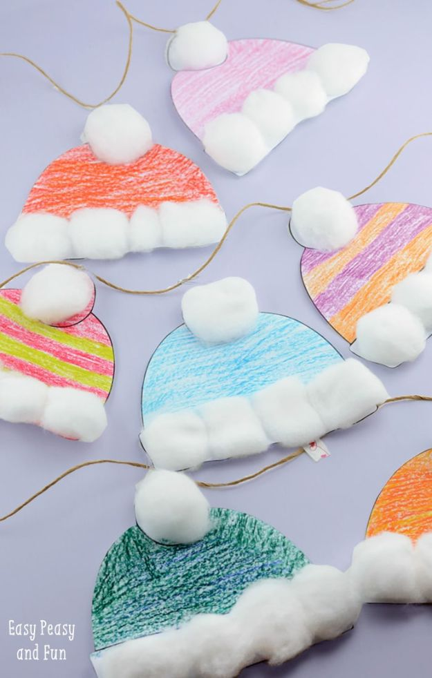 Winter Crafts for Toddlers and Kids - Winter Hats Craft for Kids - Easy Art Projects and Craft Ideas for 2 Year Olds, Preschool Age Children - Simple Indoor Activities, Things To Make At Home in Wintertime - Snow, Snowflake and Icicle, Snowmen - Classroom Art Projects - Busy Bags and Quick and Easy Gifts - Cheap Kid Crafts From The Dollar Store and Dollar Tree http://diyjoy.com/winter-crafts-for-kids