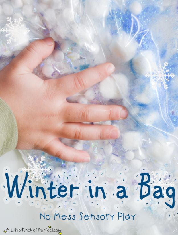 Winter Crafts for Toddlers and Kids - Winter In A Bag - Easy Art Projects and Craft Ideas for 2 Year Olds, Preschool Age Children - Simple Indoor Activities, Things To Make At Home in Wintertime - Snow, Snowflake and Icicle, Snowmen - Classroom Art Projects #kidscrafts #craftsforkids #winters