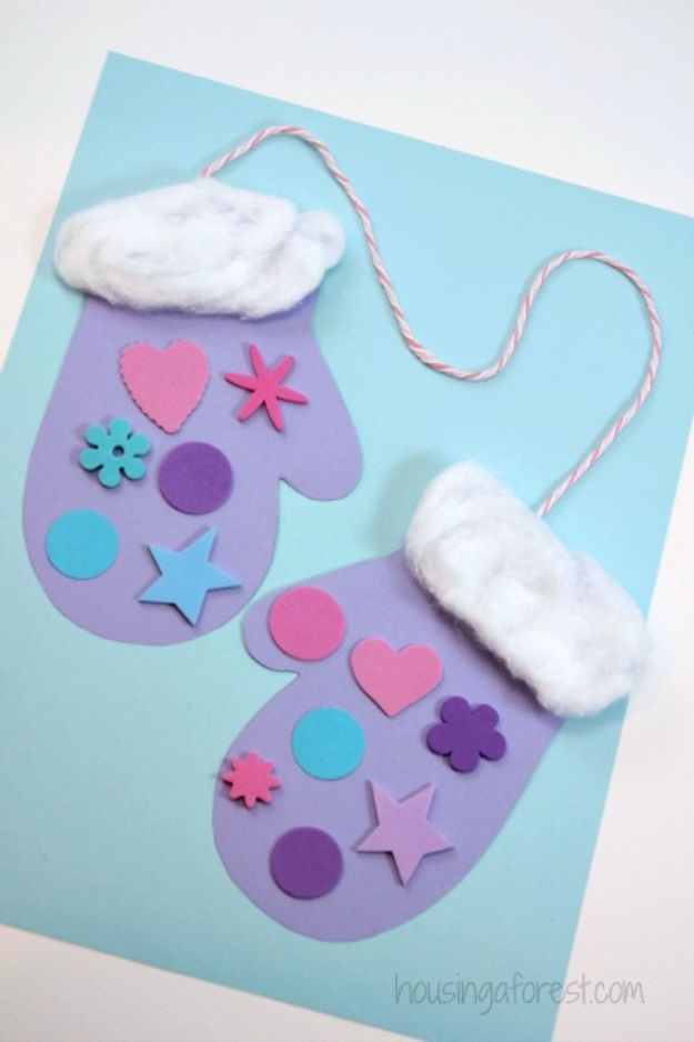 Winter Crafts for Toddlers and Kids - Winter Mitten Craft for Preschoolers - Easy Art Projects and Craft Ideas for 2 Year Olds, Preschool Age Children - Simple Indoor Activities, Things To Make At Home in Wintertime - Snow, Snowflake and Icicle, Snowmen - Classroom Art Projects #kidscrafts #craftsforkids #winters