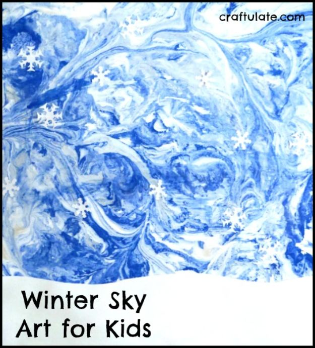Winter Crafts for Toddlers and Kids - Winter Sky Art for Kids - Easy Art Projects and Craft Ideas for 2 Year Olds, Preschool Age Children - Simple Indoor Activities, Things To Make At Home in Wintertime - Snow, Snowflake and Icicle, Snowmen - Classroom Art Projects #kidscrafts #craftsforkids #winters