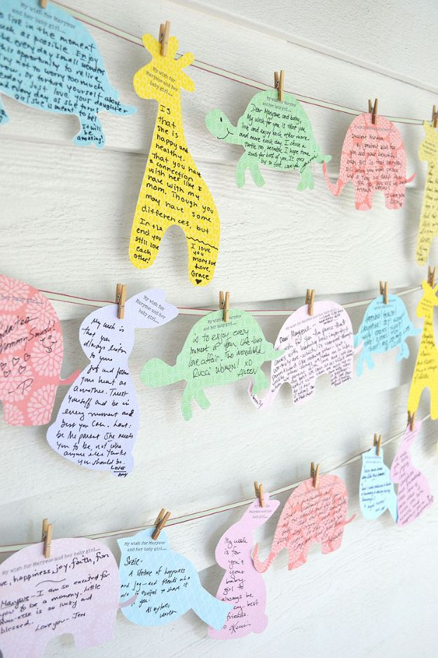 DIY Baby Shower Decorations - Wishes For Baby - Cute and Easy Ways to Decorate for A Baby Shower Ideas in Pink and Blue for Boys and Girls- Games and Party Decor - Banners, Cake, Invitations and Favors http://diyjoy.com/diy-baby-shower-decorations