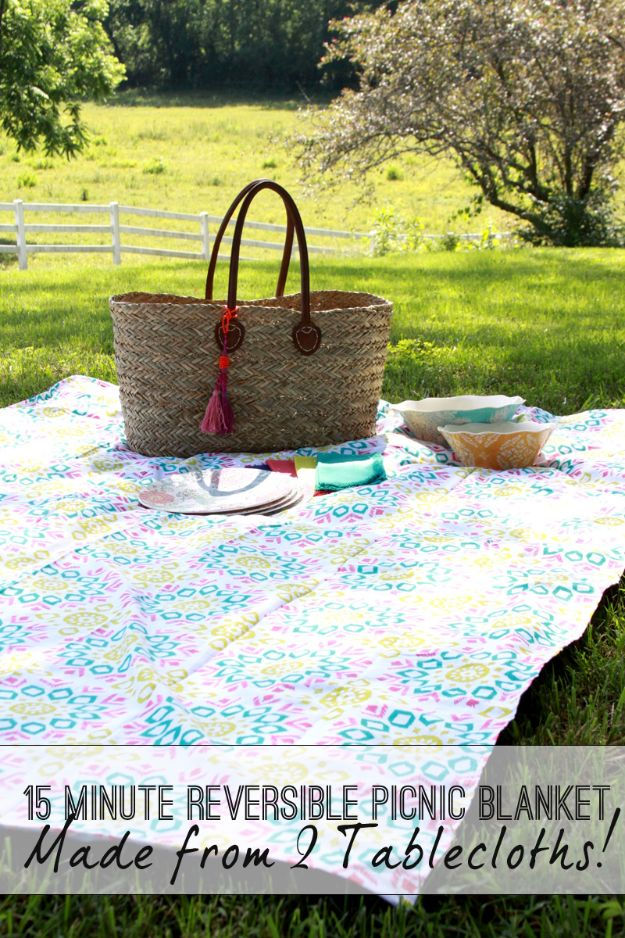 Easy Sewing Projects To Sew For Gifts - 15 Minute Picnic Blanket - Simple Sewing Tutorials and Free Patterns for Making Christmas and Birthday Presents - Cheap Ideas to Make and Sell on Etsy http://diyjoy.com/quick-diy-gifts-sewing-projects - Simple Sewing Tutorials and Free Patterns for Making Christmas and Birthday Presents - Cheap Ideas to Make and Sell on Etsy http://diyjoy.com/quick-diy-gifts-sewing-projects