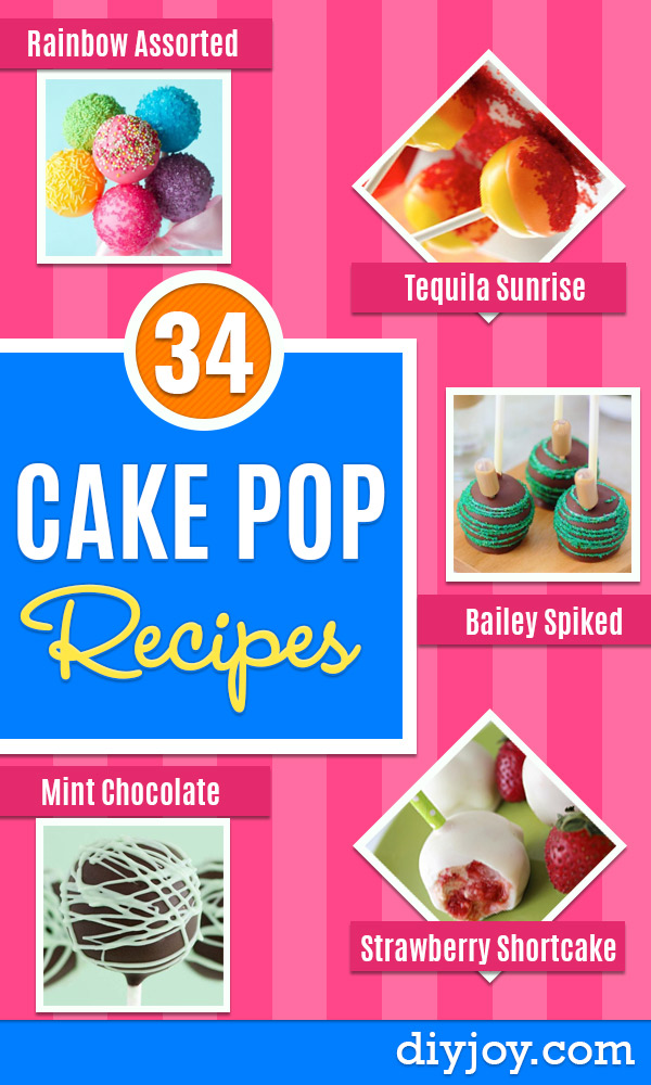 Cake Pop Recipes and Ideas - How to Make Cake Pops - Easy Recipe for Chocolate, Funfetti Birthday, Oreo, Red Velvet - Wedding and Christmas DIY #dessertrecipes #cakepops https://diyjoy.com/cake-pop-recipes